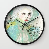 fashion illustration Wall Clocks featuring FASHION ILLUSTRATION 10 by Justyna Kucharska