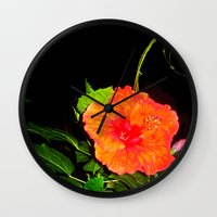 hibiscus Wall Clocks featuring Hibiscus by Iris V.