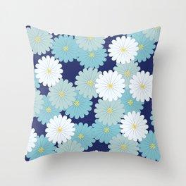 Blue oriental flowers Throw Pillow