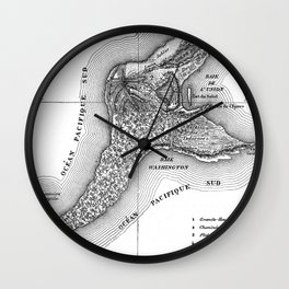 Map of the Mysterious Island - Jules Verne - Vintage Map Wall Clock