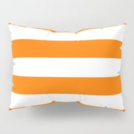Bright Tumeric Orange and White Wide Horizontal Cabana Tent Stripe Pillow Sham