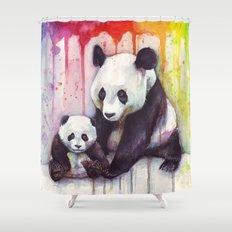 Pandas and Rainbow Watercolor Mom and Baby Panda Nursery Animals Shower Curtain