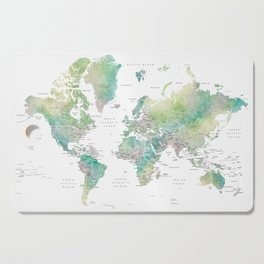 Watercolor world map in muted green and brown, with country capitals Cutting Board