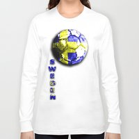 sweden Long Sleeve T-shirts featuring Old football (Sweden) by seb mcnulty