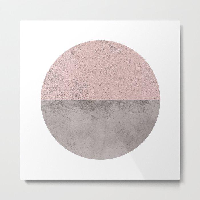DARK BLUSH GRAY CONCRETE CIRCLE Metal Print