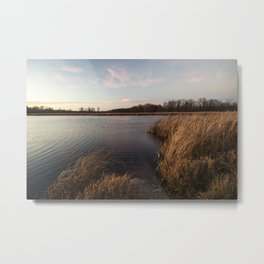 Dusk Over Small Rural Lake Metal Print