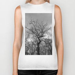 Witchy black and white tree Biker Tank