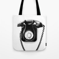 telephone Tote Bags featuring Telephone by Plasmodi