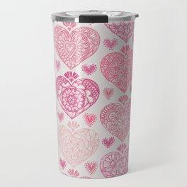 Pink Heart Valentine's Doilies Pattern Travel Mug
