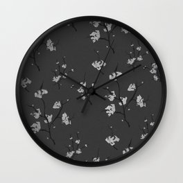 Floral Watercolour in Gray Wall Clock