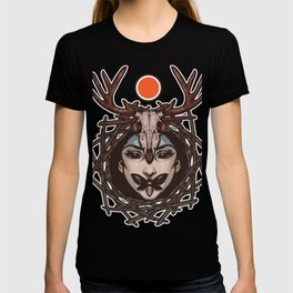 Deer girl and the sun - girl with deer skull - butterfly kiss T-shirt