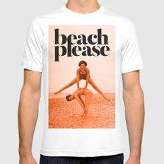 Beach Please!!! White MEDIUM Mens Fitted Tee