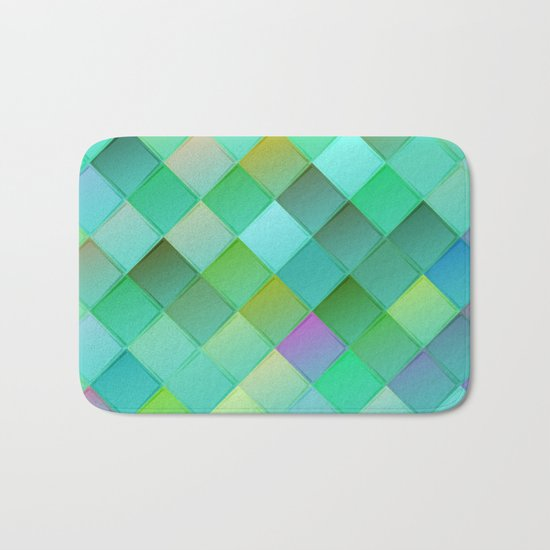 Green pattern with squares.Trendy print. Modern graphic design. Bath Mat