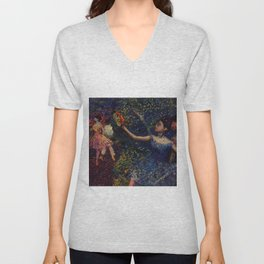 Dancer and Tambourine Portrait Painting by Edgar Degas Unisex V-Neck