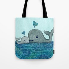 Whale Mom and Baby with Hearts Tote Bag