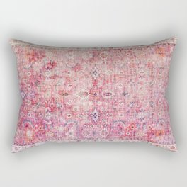 N45 - Pink Vintage Traditional Moroccan Boho & Farmhouse Style Artwork. Rectangular Pillow
