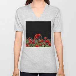 Red Poppies in bright sunlight Unisex V-Neck