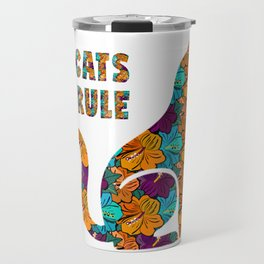 Cats Rule Silhouette With Hibiscus Flowers Travel Mug