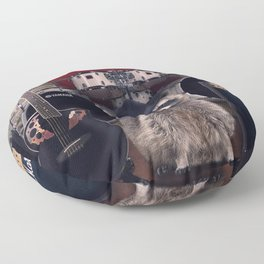 raccoon rock Floor Pillow