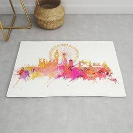 London skyline map city pink Rug