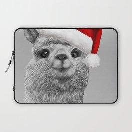 cute Alpaca with a big Christmas hat Laptop Sleeve