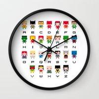 aquaman Wall Clocks featuring Superhero Alphabet by PixelPower