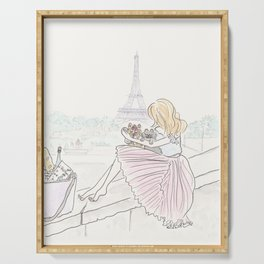 Eiffel Tower Pleated Cuddles with Yorkie Dog and Cat Serving Tray