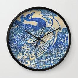 Garden Peacock Pair Wall Clock