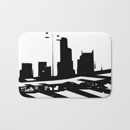 City Scape in Black and White Bath Mat
