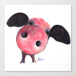 Nosey Pig ' CLARENCE ' by Shirley MacArthur Canvas Print