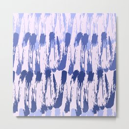 Navy blue lavender watercolor abstract hand painted brushstrokes Metal Print