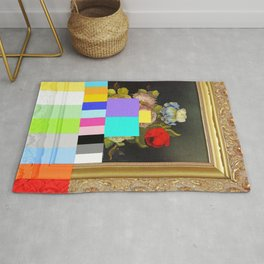 A Painting of Flowers With Color Bars Rug