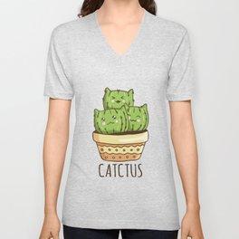 Cute Cat Face Cactus Unisex V-Neck
