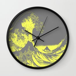 The Great Wave Yellow & Gray Wall Clock