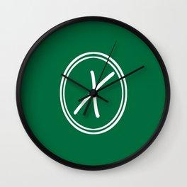 Monogram - Letter X on Cadmium Green Background Wall Clock