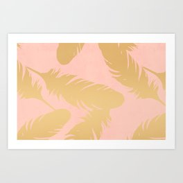 Boho Feather Pink Gold Art Print
