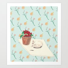 Xmas of cat Art Print