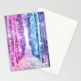 Magical Forest : Pastel Pink Lavender Aqua Periwinkle Ombre Stationery Cards
