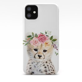 Baby Cheetah with Flower Crown iPhone Case