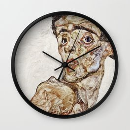 Egon Schiele - Self Portrait With Raised Bare Shoulder Wall Clock
