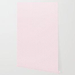 Large Light Soft Pastel Pink Spots on White Wallpaper
