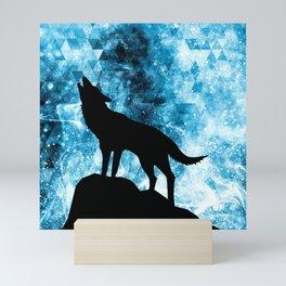 Howling Winter Wolf snowy blue smoke Mini Art Print