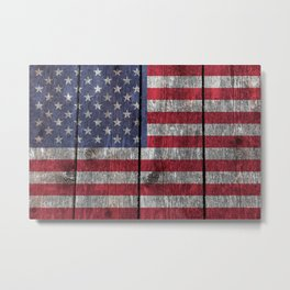 """Old Glory""  ""The Star Spangled Banner"" on wood Metal Print"