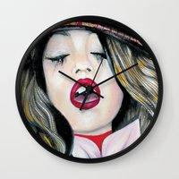 bohemian Wall Clocks featuring Bohemian Girl  by Felicia Atanasiu
