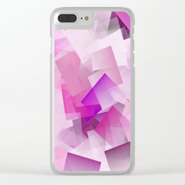 Geometric Stacks Pink Magenta Clear iPhone Case