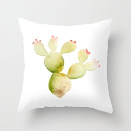 Cute Cactus - Green Succulent in Watercolor with Pink Flowers Throw Pillow