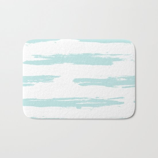 Swipe Stripe Succulent Blue and White Bath Mat