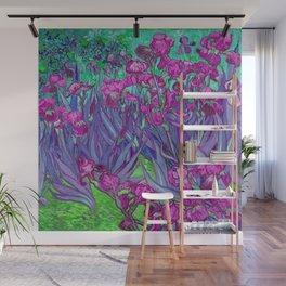Vincent Van Gogh Irises Painting Violet Fuchsia Palette Wall Mural