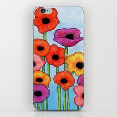 Colorful Poppies on Blue iPhone Skin