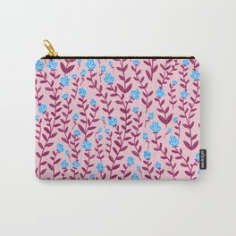 Burgundy and Blue Minimal Vintage Floral Pattern Carry-All Pouch